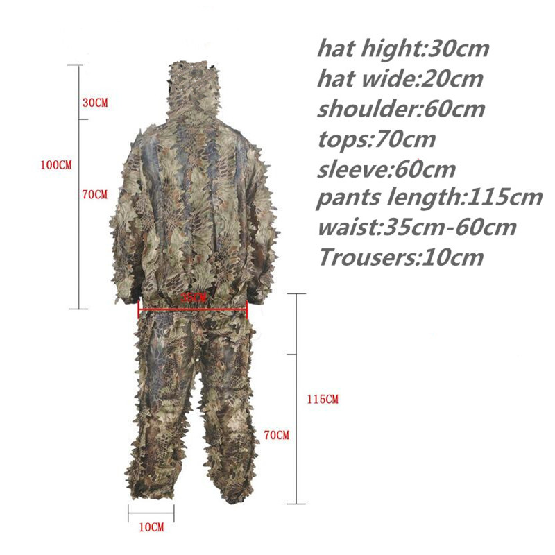 Hunting Camouflage Ghillie Suits Outdoor Hunter Clothing Ghillie Pants+Ghillie Jacket Tactical Jungle Clothing Sniper 3D Ghillie windproof realtree camouflage suits wild hunting clothing oem vision