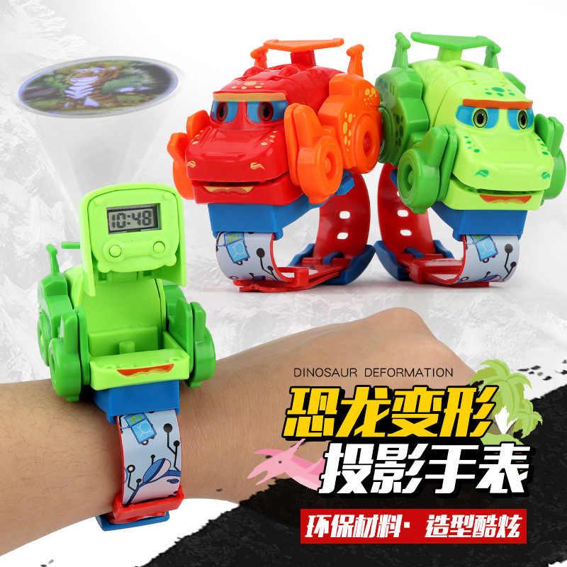 Crianças Assistir Novo Relógio Deformação Brinquedos Dinossauro Pode Projetar Crianças Relógio Dos Desenhos Animados Relógio Eletrônico Q Bonito do Dragão