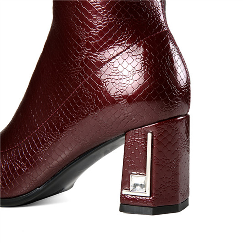 MORAZORA 2020 wine red newest knee high boots women square toe patent leather boots zipper fashion Stretch high heels shoes-in Knee-High Boots from Shoes    2