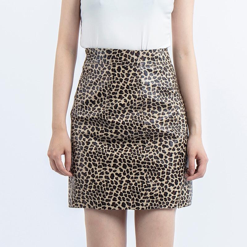 Leopard Skirt Genuine Leather Mini Sexy Skirt High Waist Pencil Short Skirts