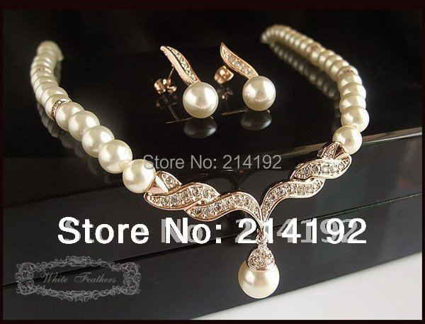 Fress Shipping Rose Gold Plated Cream Pearl Rhinestone Crystal