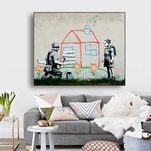 Banksy Street Graffiti Art Wall Decor Canvas Poster and Print Painting Decorative Picture for Living Room Home