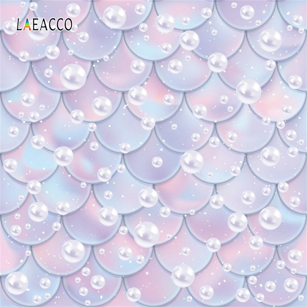 Laeacco Cartoon Mermaid Fish Scales Pearl Wall Portrait Scene Baby Photography Backdrop Photographic Background For Photo Studio пляж на самуи