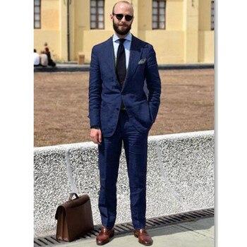 Navy Blue Men Wedding Suit Slim Fit Groom Tuxedo Blazer Men Suits For Wedding Terno Masculino Wedding Tuxedos (Jacket+Pant)