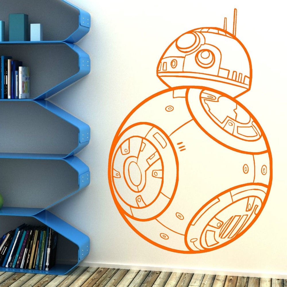 Star wars bb 8 droid the force awakens vinyl wall art sticker decal bb8 removable diy wall paper mural adesivo de parede d562 in wall stickers from home