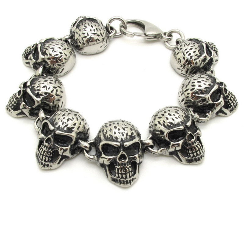 High Quality Harley Black & Gold Skeleton Skull Motor Bike Chain Motorcycle Chain Bracelet Bangle 316L Stainless Steel Jewelry