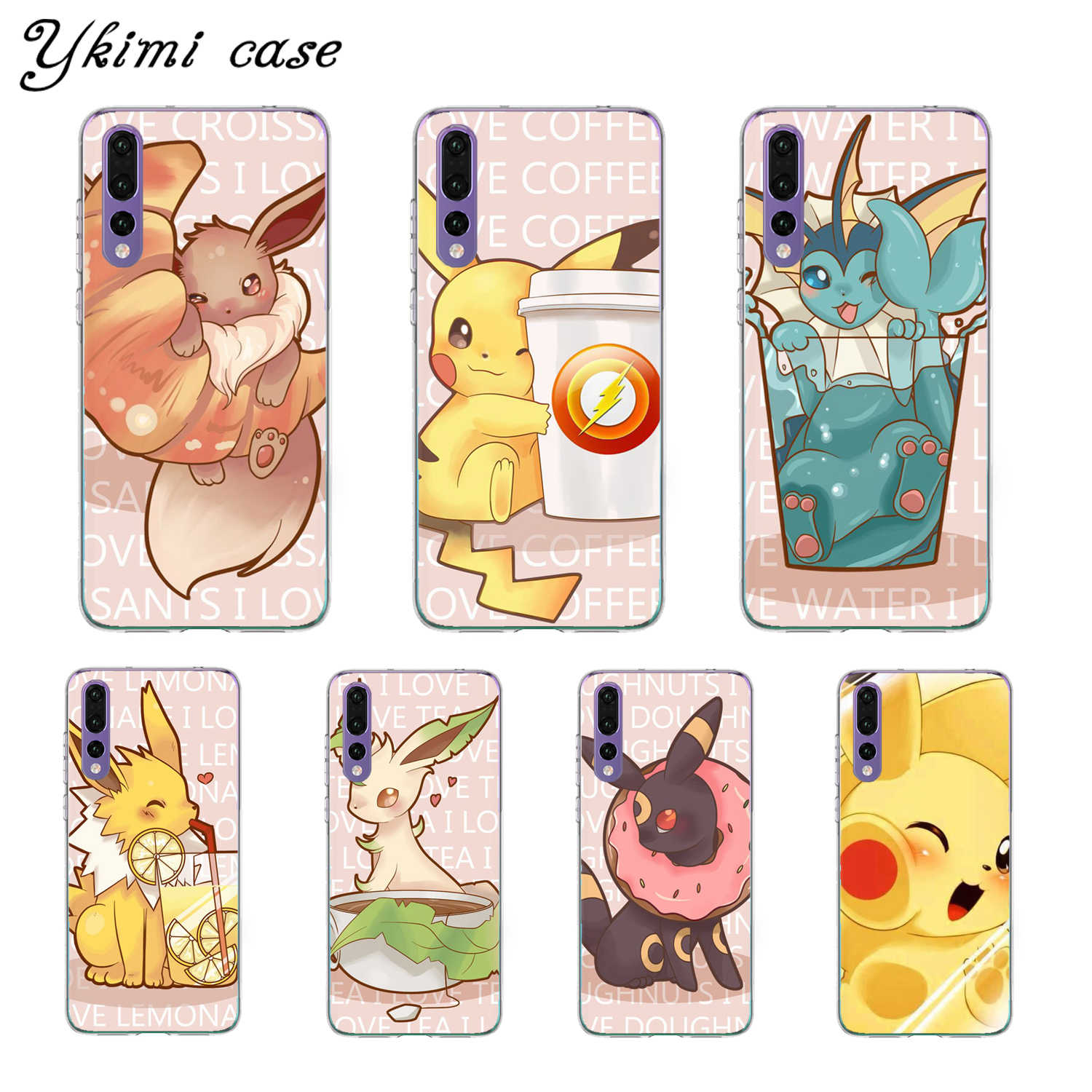 Cute Cartoon Pokemon Case For Huawei P8 P9 Lite 2017 P10 Plus P20 P30 Lite Pro Case Cover Transparent Soft Silicone TPU