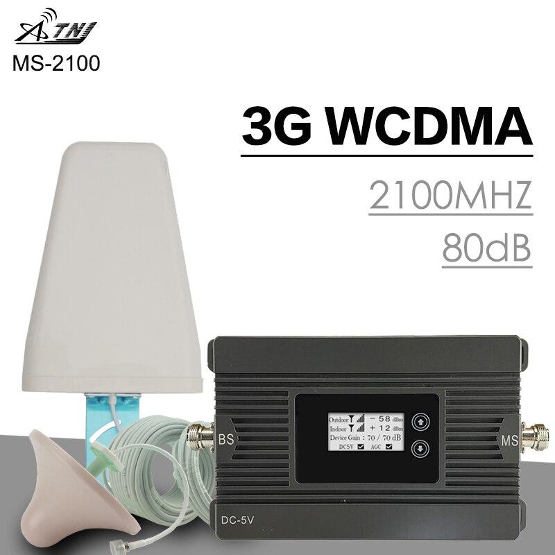 500 m² ATNJ 3G WCDMA 2100 MHz Cellulaire Signal Ampifier 3G UMTS Puissance 80dB Gain Mobile antenne booster de téléphone portable répéteur de Signal antenne Ensemble