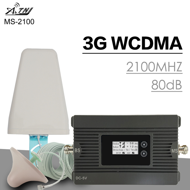 500 m² ATNJ 3G WCDMA 2100 MHz ampificateur de Signal cellulaire 3G UMTS puissance 80dB Gain amplificateur de téléphone portable répéteur de Signal ensemble d'antenne