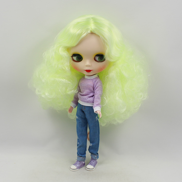 11.5 fashion dolls Yellow-green long curly hair blyth doll nude