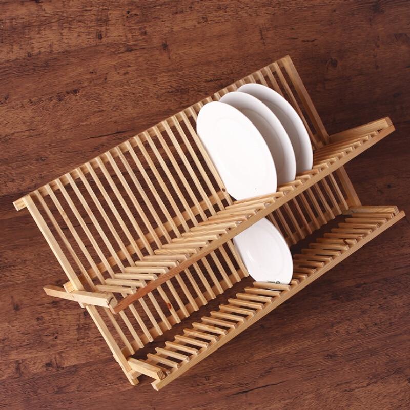 Doble estante para platos de madera tipo suelo plegable - Rack para platos ...