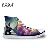 FORUDESIGNS Men Spring Casual Canvas Shoes 3D Astronaut Pattern High Top Vulcanized Shoes For Man Leisure