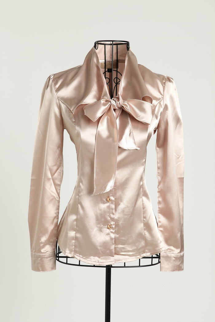 7f15095d7d4cb Women s Fashion Imitated Silk Bow Collar Lone Sleeve Shirt OL work Wear  Slim Blouse Tops-in Blouses   Shirts from Women s Clothing on  Aliexpress.com ...