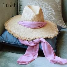 New Women Summer Beach Hat Wide side Black Pink Ribbon Bohemia Big Jazz Raffia Burr Vintage Womens Seaside Hats hat