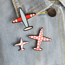3 pieces / set. Cartoon Wave Dots Stripe Aircraft Metal Pins,Fashion Cute Cartoon Airplane Jacket Collar Badge Jewelry Gifts