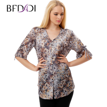 BFDADI 2017 New Floral Women Blouses Shirts Casual Blouse Half Sleeve Ladies Tops Fashion For Womens Plus Size 9623