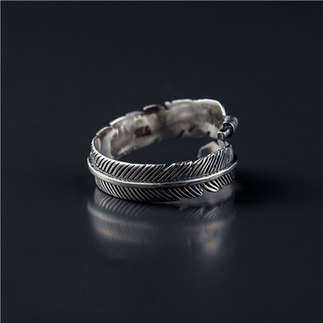 Retro High-quality 925 Sterling Silver Jewelry Thai Silver Not Allergic Personality Feathers Arrow Opening Rings   SR239 2