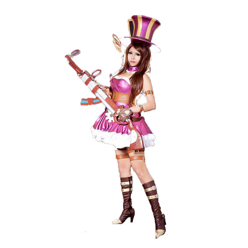 LOL The Sheriff of Piltover Policewoman Caitlyn Uniform Dress Outfit Anime  Cosplay Costumes with hat 2e00eb35317a