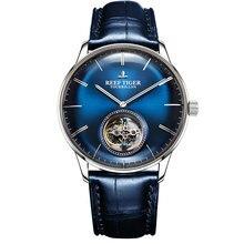 Мужские автоматические механические часы Reef Tiger/RT Blue Tourbillon, ремешок из натуральной кожи, RGA1930