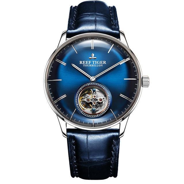 Reef Tiger/RT สีฟ้า Tourbillon นาฬิกาผู้ชายอัตโนมัติ Mechanical นาฬิกาข้อมือหนังแท้สายหนัง relogio ชาย RGA1930