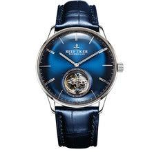 Reef Tiger reloj Tourbillon azul para hombre, automático, mecánico, correa de cuero genuino, masculino, RGA1930