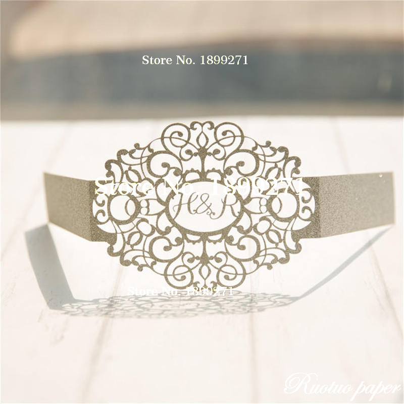 Laser Cut Monogrammed Oval Glitter Belly Band for Invitations Personalized Belly Band Glitter Belly Band Monogrammed