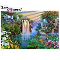 Ever Moment Diamond Painting Waterfall Scenery Picture Of Rhinestone Mosaic Full Square Drill Diamond Embroidery Decor 3F386