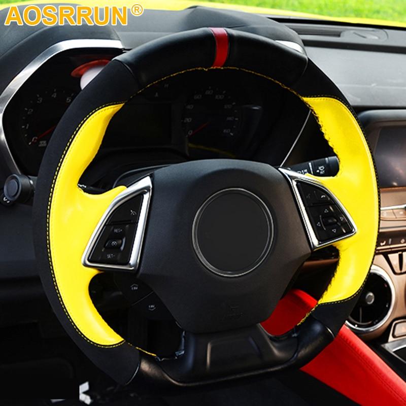 AOSRRUN Car accessories Genuine Leather Car steering wheel cover For Chevrolet camaro 2016 2017 2018