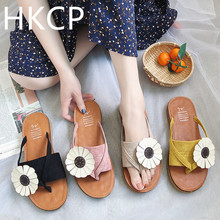 HKCP Flower flip-flops female 2019 summer new Korean version of flat bottom sandals students wear beach holiday slippers C492