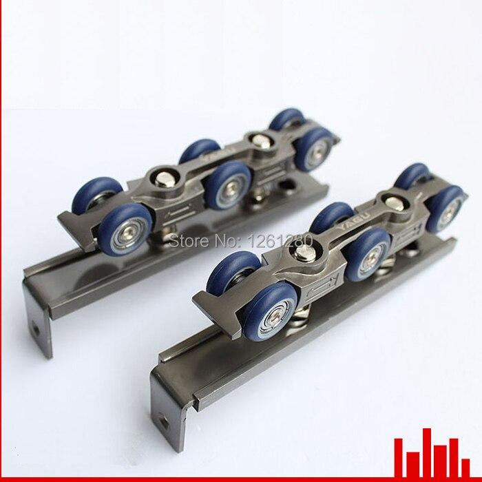 Livraison gratuite rouleau de porte ultra-silencieux en bois porte coulissante poulie extensible porte suspendue rail rail roue porte matériel