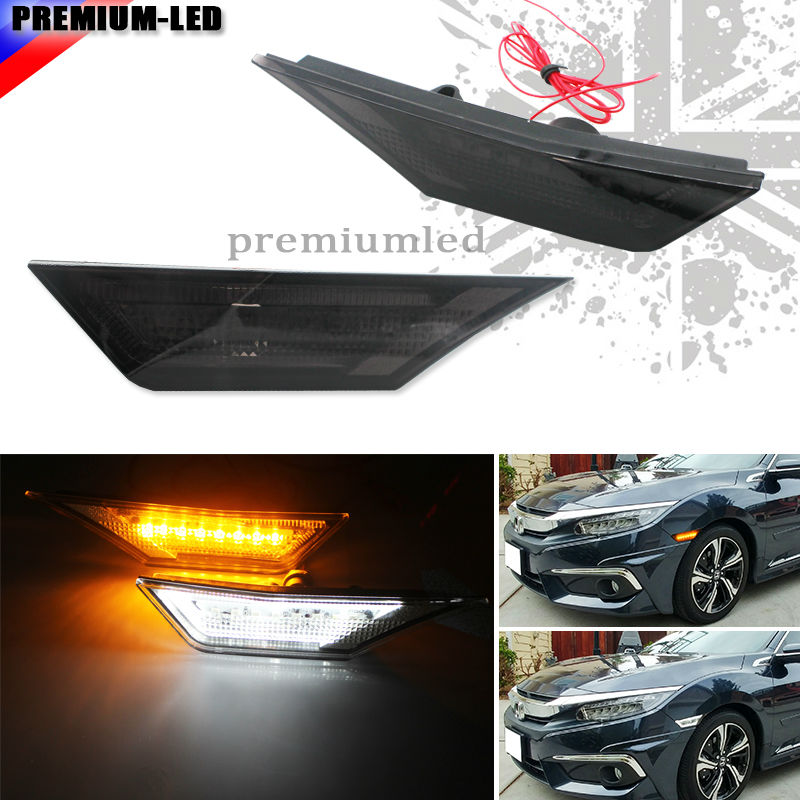2 OEM JDM Style Smoked Lens LED Side Marker Lights For 2016 up 10th Gen