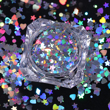Heart Star Holographic Nail Sequins 1.5g  Rhombus Round Colorful Flakies Paillette for Manicure Nail Art Decoration
