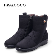 ISSACOCO 2018 Snow Boots Women Female Waterproof Ladies Girls Winter Shoes Woman Plush Insole Botas Mujer 39-42