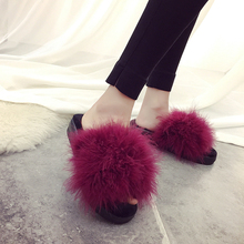 Taille 35-42 doux de couleur de sucrerie d'été femmes réel naturel plume turquie fourrure floue pantoufles mules diapositives femmes à bout ouvert plat chaussures