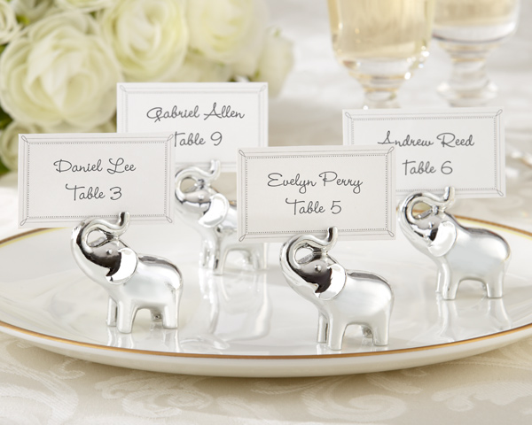 Wholesale 24pcs/lot Lucky in Love Silver-Finish Lucky Elephant Place Card Holder Party Wedding Favor Gift Free shipping image