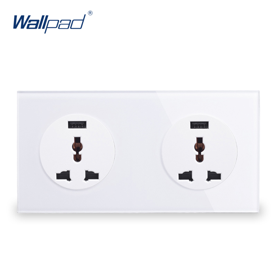 Double 3 Pin MF Socket With USB Charger 5V 2000MA Wallpad Luxury Tempered Crystal Glass Panel Electric Wall Power Socket 13A 2018 hot sale 6 pin multifunction socket wallpad luxury wall switch panel plug socket 118 72mm 10a 110 250v