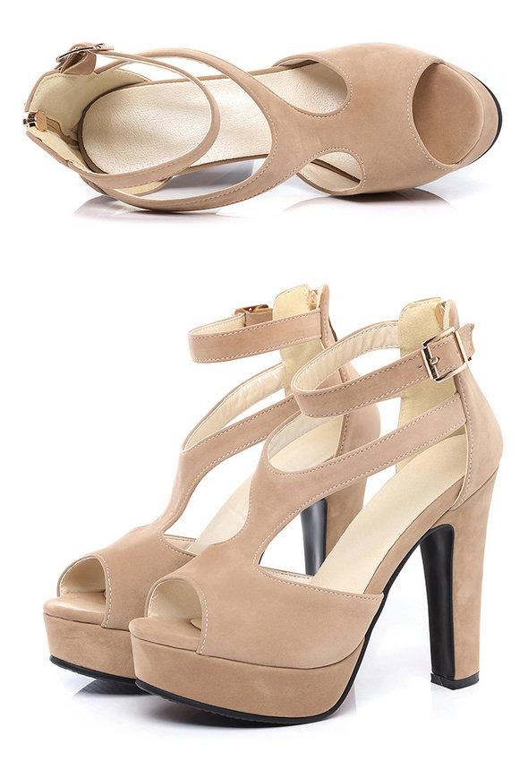 QUTAA 2017 Women Pumps Summer Black Ladies Shoe Square High Heel Peep Toe PU Leather Zipper Woman Wedding Shoes Size 34-43 18