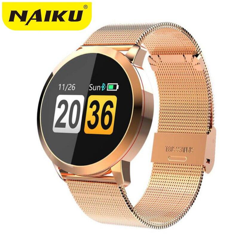 NAIKU Q8 reloj inteligente pantalla a Color OLED de moda de los hombres Fitness Tracker de la presión arterial de oxígeno Smartwatch