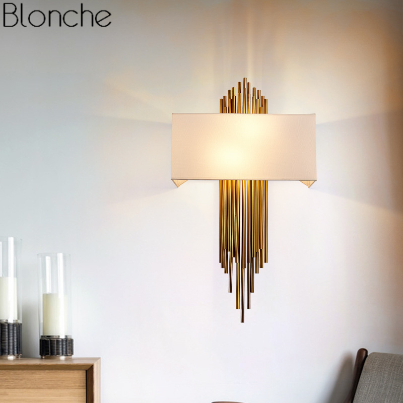 Nordic Modern Gold Wall Lamp Led Sconces Luxury Wall Lights for Living Room Bedroom Bathroom Home Indoor Lighting Fixture Decor