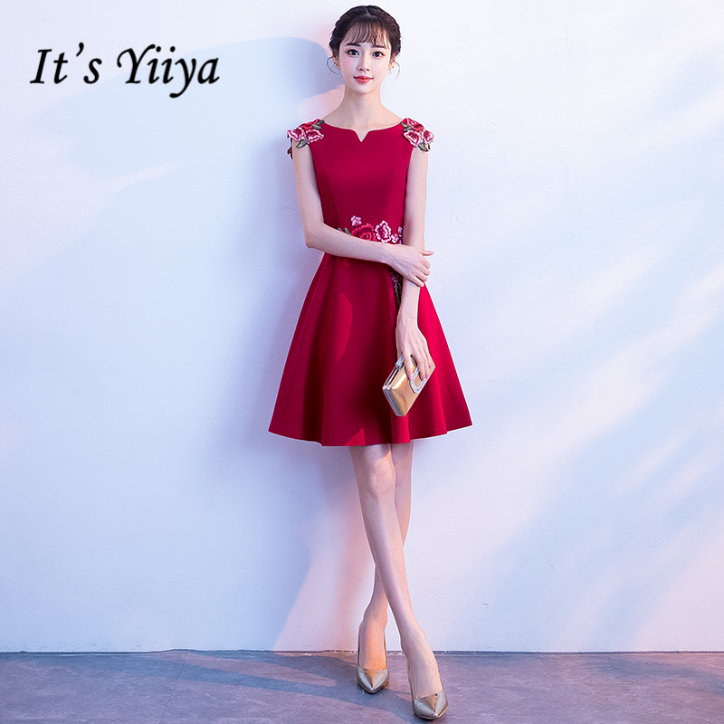 It's YiiYa Cocktail Dresses Elegant Embroidery Red Formal Party Dress Royal Flowers Satin A-line Knee Length Prom Gowns E311