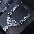 Luxuoso colar de safira para a festa à noite 16 pcs 3*5mm natural sapphire sólido 925 prata safira azul escuro colar