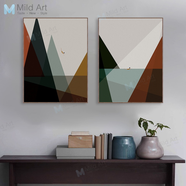 Abstrakte Minimalistischen Landschaft Meer A4 Kunstdruck Poster Wand Bilder Wohnzimmer  Leinwand Malerei Retro Dekoration