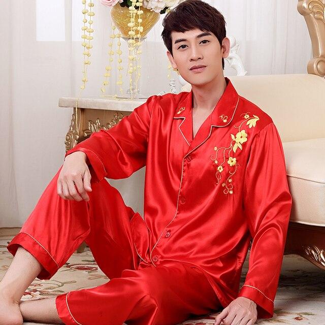 Новая Мода Красный Длинным Рукавом Мужские Атласные Slik Пижамы Пижамы Наборы Кнопка Сна Топы и Брюки Днища QM01