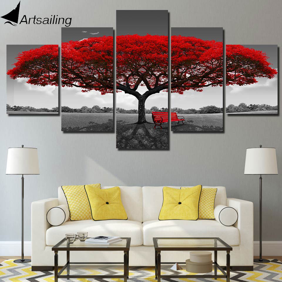 ArtSailing 5 panel pintura imprimir pintura lienzo árbol rojo paisaje modular cuadros grandes imágenes de pared para sala