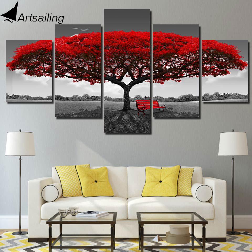 ArtSailing 5 pannello di pittura di stampa pittura della tela di canapa di arte rosso albero paesaggio immagini modulari grande immagini a parete per soggiorno