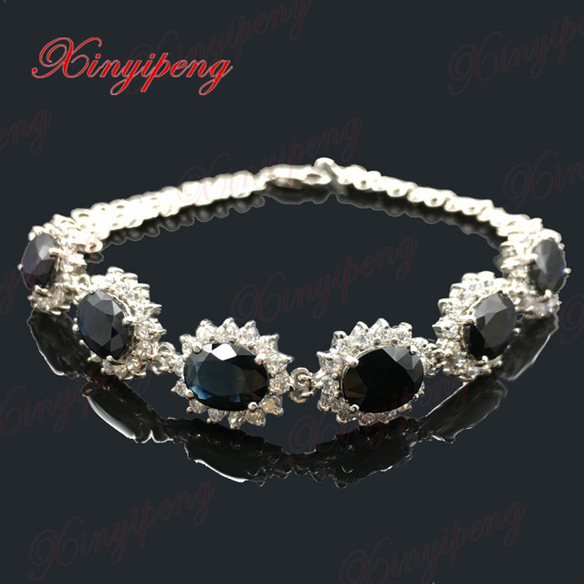 Fine jewelry 18 k white gold 100% natural sapphire bracelet female 9 carat Blue colored gems Diana money