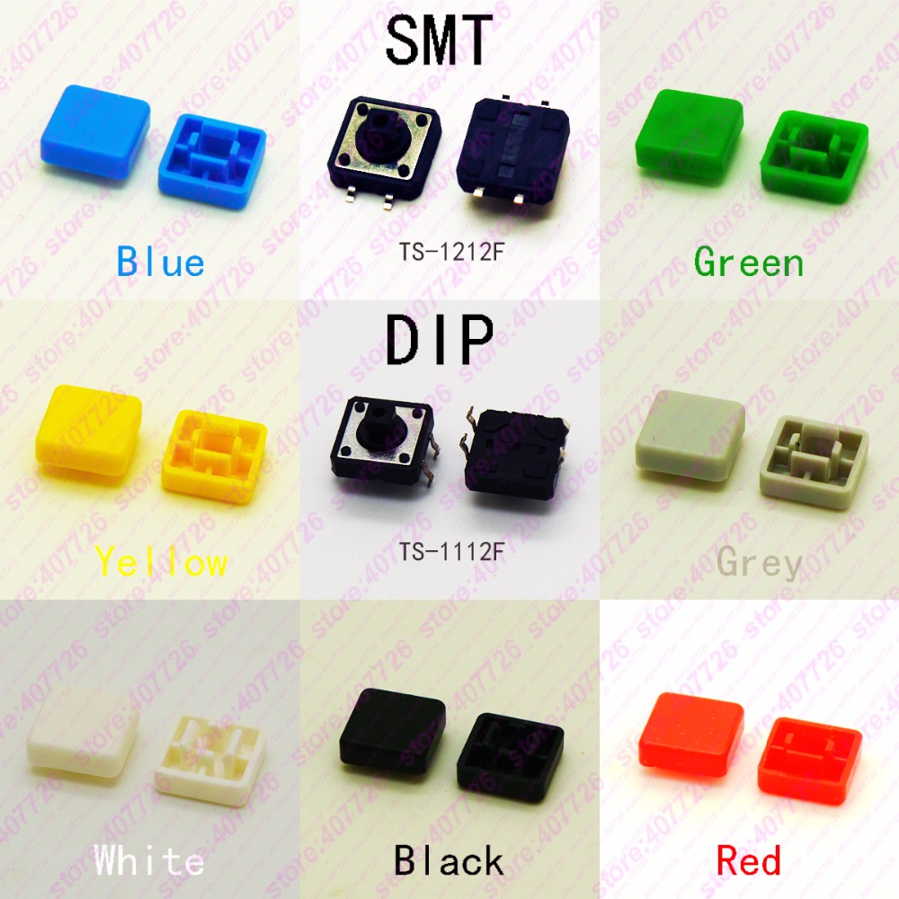 10PCS 12X12mm H=9MM With Square Cap Momentary Tactile 4PIN SMT/DIP Tact Switch Push Button Switch Micro Key Button Кошелёк