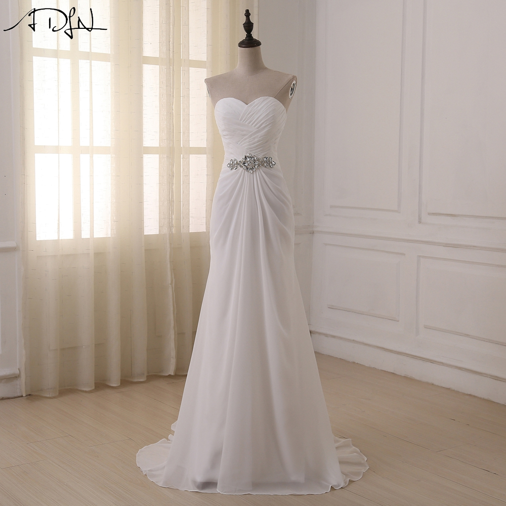 Adln Stock Chiffon Beach Wedding Dress Summer Cheap Boho