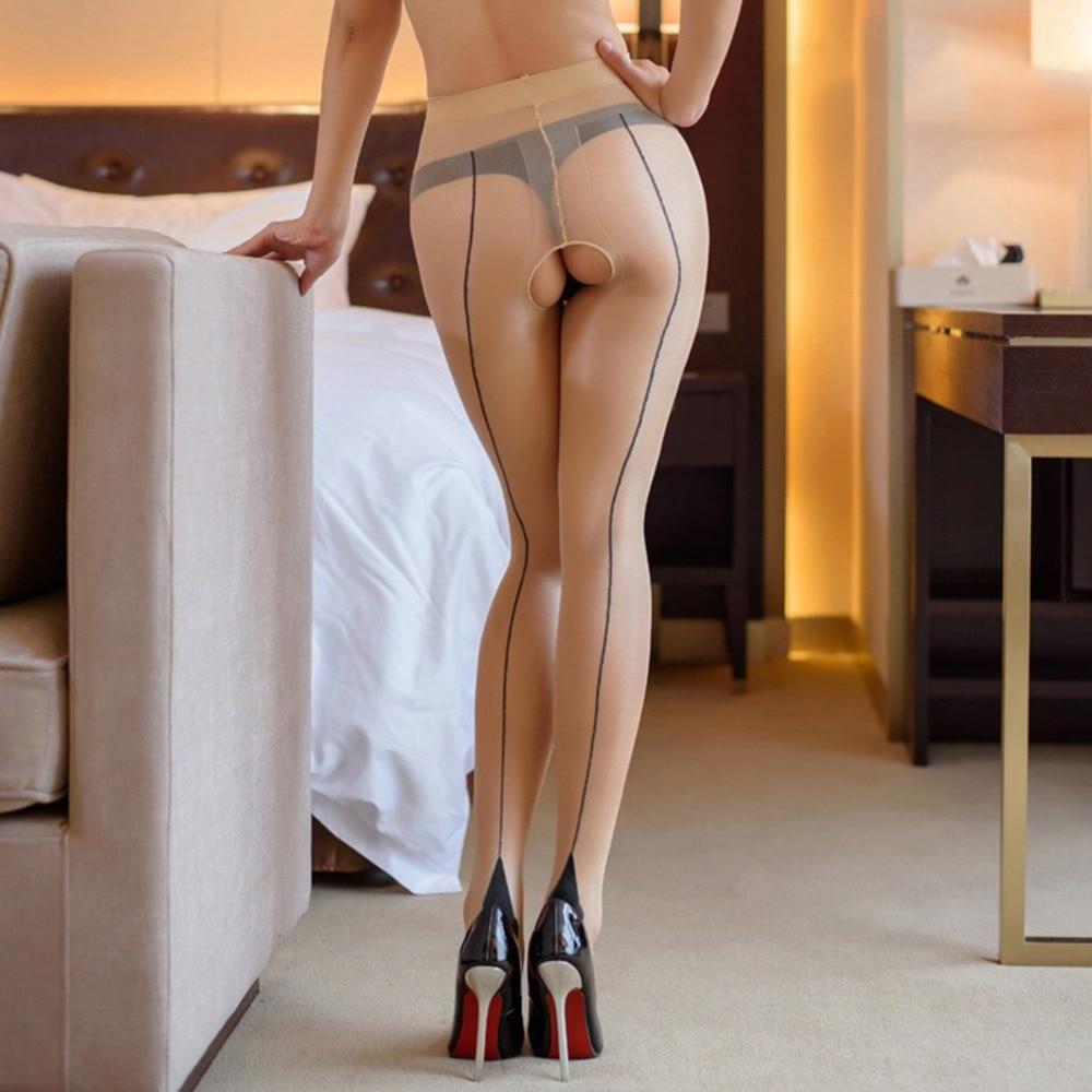 Hot sexy back line com calcanhar reforço do dedo do pé calças justas virilha aberta cintura alta meia-calça calças virilha collant femme
