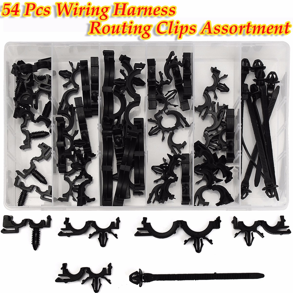 New 54Pcs Wiring Harness Wire Loom Routing Clips Kit Assortment Convoluted  Conduit for GM with Box Auto Interior Fastener Set-in Auto Fastener & Clip  from ...